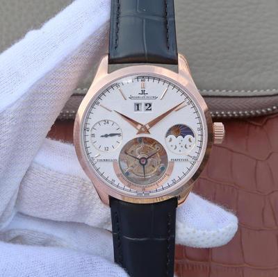 LH积家大师系列大日历复杂功能真陀飞轮腕表。目前功能最复杂的陀飞轮。自带24小时,月相,大日历功能。手动5525真陀飞轮,质感真牛皮,蓝宝石镜面,表径:42毫米,男士手表,陀飞轮机芯,透底