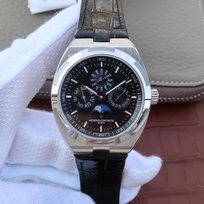 N江诗丹顿纵横四海系列4300V万年历多功能腕表,搭载与正品一致Cal.1120QP克隆机芯,配置Overseas纵横四海特色摆陀,男士手表,皮表带,自动机械机芯,41.5mm直径,透底