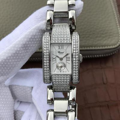 KG萧邦LASTRADA系列416867-1001腕表AISI316L精钢表壳可搭配进口意大利小牛皮表带和钢带。表圈有光圈珠圈和镶满珠天然锆石,蓝宝石玻璃,石英机芯,女士手表,密底