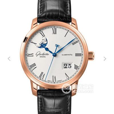 GF格拉苏蒂原创议员大日历月相腕表100-04-32-12-04,100%正品开模。直径40mmx厚11mm。男士手表,皮表带,自动机械机芯,透底