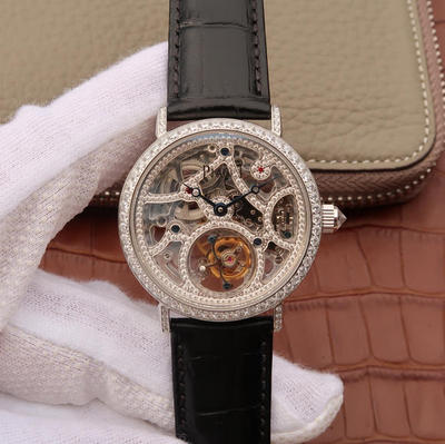 N伯爵高级珠宝陀飞轮、品牌举世闻名的超薄机芯技术与超凡珠宝工艺完美结合,再次突破超薄珠宝陀飞轮极限,让梦想变成闪耀现实。这款杰出的AItipIano40mm直径,陀飞轮机芯,皮表带,男士手表,透底