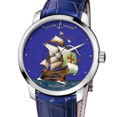 "FK攻克雅典鎏金珐琅工艺,按严格规格参数复制""圣玛利亚号"",每一张字面都经过20多道工序才可以完成,只为将帆船淋漓尽致展现出来,机芯采用海鸥改un-815,皮表带,透底男士,手表,尺寸40mm"