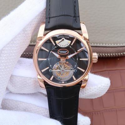 BM帕玛强尼Tonda系列PFH251腕表,海鸥真陀飞轮。12点钟位置动能显示器。42mm直径。表壳镀18K金。AISI316L精钢表壳镀金。搭配意大利进口小牛皮表带,男士手表,透你