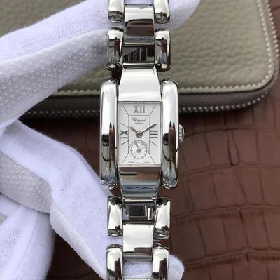KG萧邦LASTRADA系列416867-1001腕表AISI316L精钢表壳可搭配进口意大利小牛皮表带和钢带。表圈有光圈珠圈和镶满珠天然锆石,蓝宝石玻璃,女士手表,石英机芯,密底