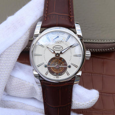 BM帕玛强尼Tonda系列PFH251男士腕表,海鸥真陀飞轮。12点钟位置动能显示器。42mm直径。表壳镀18K金。AISI316L精钢表壳镀金。皮表带,男士手表,透底