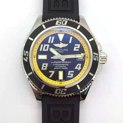 百年灵超级海洋系列2836全自动机械机芯42mmX15mm纯钢水精钢表壳原装潜水硅胶表带!加固防水潜水可达350米魅力男士手表