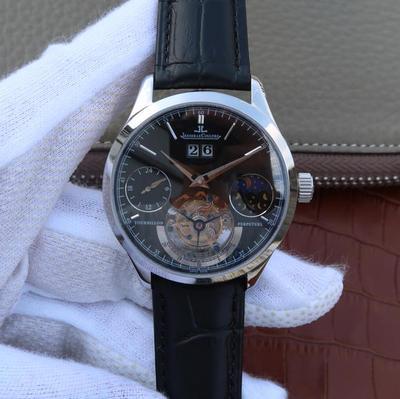 LH积家大师系列大日历复杂功能真陀飞轮腕表。目前功能最复杂的陀飞轮。自带24小时,月相,大日历功能。手动5525真陀飞轮,质感真牛皮,男士手表,陀飞轮机芯,透底