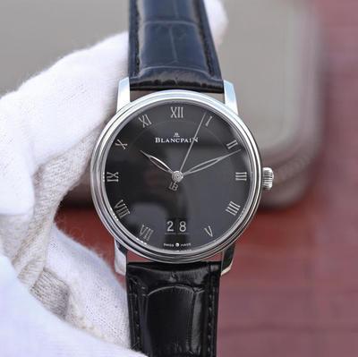 N宝珀经典Villeret系列6669大日历视窗腕表,复刻宝珀原装6950机芯,功能与原装一致,40mm直径,镀18k金,双窗大日历,男士手表,皮表带,自动机械机芯,透底