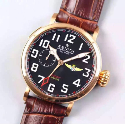 XF真力时飞行员新品上线进口全自动机械机芯密底牛皮表带GMT两地时间功能45毫米大飞洋葱大把头乱真男士手表