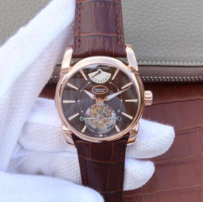BM帕玛强尼Tonda系列PFH251男士腕表,海鸥真陀飞轮。12点钟位置动能显示器。42mm直径。表壳镀18K金。AISI316L精钢表壳镀金,皮表带,男士手表,透底