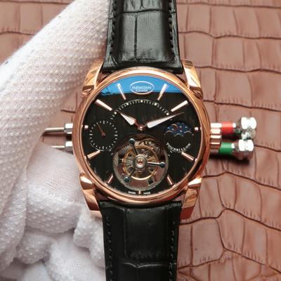 帕玛强尼真陀飞轮新款日月星辰24小时显示顶级同轴陀飞轮机芯42毫米直径皮表带男士手表透底
