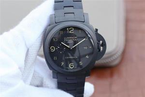 VS沛纳海VS升级版pam00438/PAM438。44mm直径,经过两年多的研发,克隆了原装全自动p.9001机械机芯,全黑1:1机芯,男士手表,精钢表带,透底
