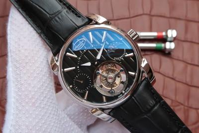 帕玛强尼真陀飞轮新款日月星辰24小时显示顶级同轴陀飞轮机芯42毫米直径进口牛皮男士手表透底
