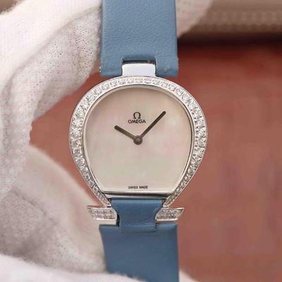 N欧米茄Omegamania特别系列5886.72.51腕表,镀18k白金表壳,表圈镶嵌施华洛世奇钻,双层防刮蓝宝石玻璃,正品原装石英机芯,女士手表,皮表带,密底