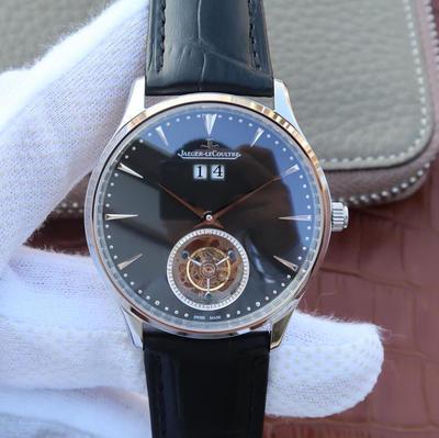 TF积家大师系列大日历真陀飞轮腕表。全自动5525真陀飞轮,质感真牛皮,蓝宝石镜面,表径:42毫米,表壳厚度:14毫米,皮表带,男士手表,陀飞轮机芯,透底