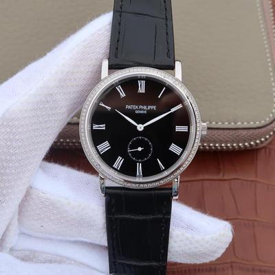 N百达翡丽古典系列5119G瑞士顶级工艺搭载原装进口Cal.215PS机芯,38mm直径男士商务休闲腕表男士手表。手动机械(储能40小时),皮表带,男士手表,透底