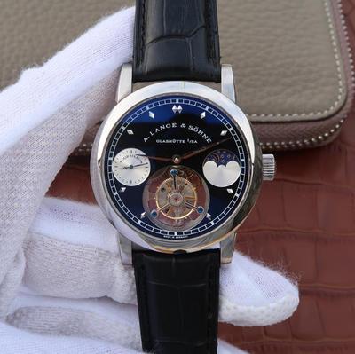 BM朗格真陀飞轮,款式:真陀飞轮机械心!直径:直径42mm。厚度13.8mm机芯型号:进口5512真飞轮机芯动力储备:72小时。玻璃:蓝宝石玻璃鍍藍模表带:真皮。男士手表,透底