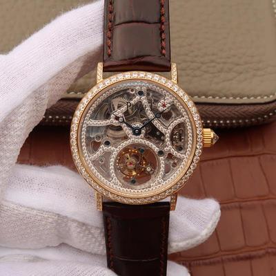 N伯爵高级珠宝陀飞轮、品牌举世闻名的超薄机芯技术与超凡珠宝工艺完美结合,再次突破超薄珠宝陀飞轮极限,让梦想变成闪耀现实。40mm直径,陀飞轮机芯,男士手表,皮表带,透底。
