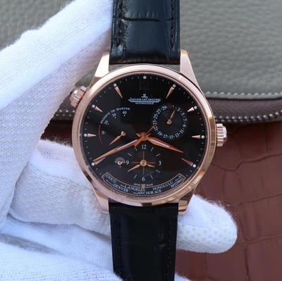TW积家大师系列1422521黑盘男士多功能腕表,42mm直径。939A/1机械自动机芯。真皮表带,透底