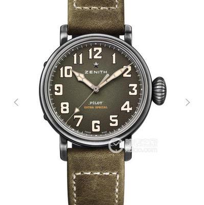 XF真力时飞行员系列11.1940.679/93.C800复古大飞。进口9015全自动机械机芯振频:28800每小时振荡,次数表径:40毫米,表壳厚度:12.95毫米,皮表带,男士手表,透底