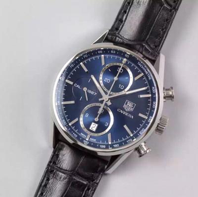 V6豪雅CARRERACALIBRE1887计算时码表机芯(直径41毫米)这款优雅的腕表以最初的CARRERA41毫米进口一比一自动机械配有精准测速仪时针、分针和小秒牛皮表带复杂男士手表