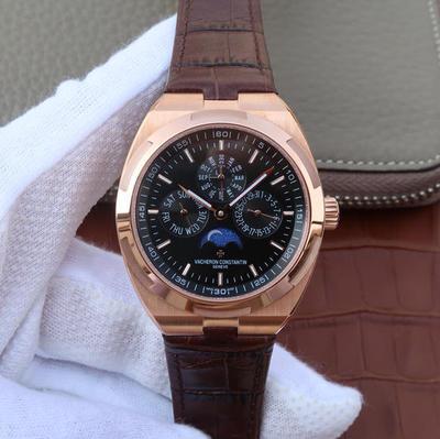 N江诗丹顿纵横四海系列4300V万年历多功能腕表,搭载与正品一致Cal.1120QP克隆机芯,配置Overseas纵横四海特色摆陀,男士手表,自动机械机芯,皮表带,41.5mm直径,透底
