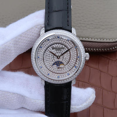 KG百达翡丽复杂功能系列4968女士手表。海鸥克隆组装215PSLU手动机械机芯,镶嵌施华洛世奇钻。振频:28800每小时振荡次数,动力储备:45小时,表径:33.3毫米,皮表带,透底