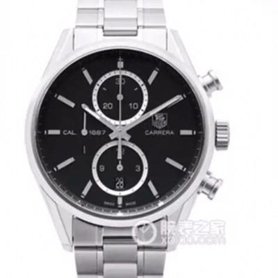 V6豪雅CARRERACALIBRE1887计算时码表机芯(直径41毫米)这款优雅的腕表以最初的CARRERA41毫米进口一比一自动机械配有精准测速仪时针、分针和小秒精钢表带复杂男士手表