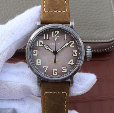 XF真力时飞行员系列11.1940.679/91.C807复古大飞。进口9015全自动机械机芯,振频:28800每小时振荡次数,表径:40毫米,表壳厚度:12.95毫米,皮表带,男士手表,密底