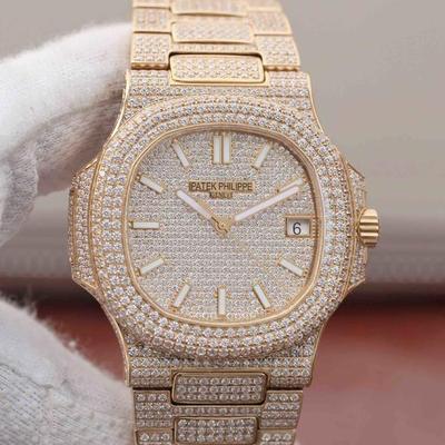 N百达翡丽Nautilus5719/10G-010白金腕表。品牌举世闻名超凡珠宝满天星完美结合,这款豪华百达翡丽腕表独特及富有魅力设计,是展现完美工艺的升华之作,女士手表,精钢表带,透底