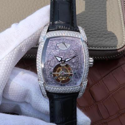 帕玛强尼TOURBILLON系列真陀飞轮腕表,表径:53x37.2毫米表壳材质:18k镀金/镀银,表盘形状:酒桶形,表带材质:牛皮可配鳄鱼。防水深度:100米,男士手表,陀飞轮机芯,透底