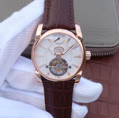 BM帕玛强尼Tonda系列PFH251腕表,海鸥真陀飞轮。12点钟位置动能显示器。42mm直径。表壳镀18K金。AISI316L精钢表壳镀金。搭配意大利进口小牛皮表带,蓝宝石玻璃,男士手表,透底