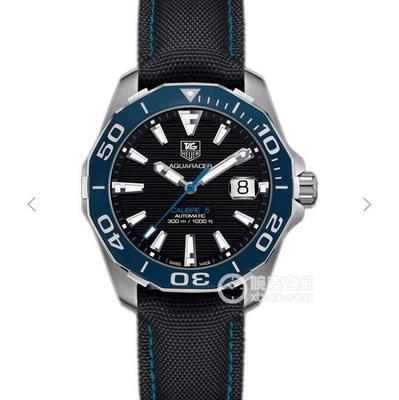 V6泰格豪雅竞潜系列WAY211B.FC6363终极版,推出全新Aquaracer竞潜系列腕表,表壳以缎面抛光精钢打造,41mm直径,陶瓷表圈重新设计,布表带,男士手表,自动机械机芯,密底